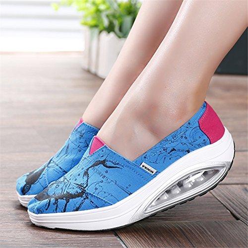 Tulle On Heel libre Zapatos Suela mujer SHINIK Toe Comfort Casual Low Sneakers de ligera Segundo para Summer de Zapatos Zapatos Shake al Round lona Slip para mujer aire wCxxZctqHF