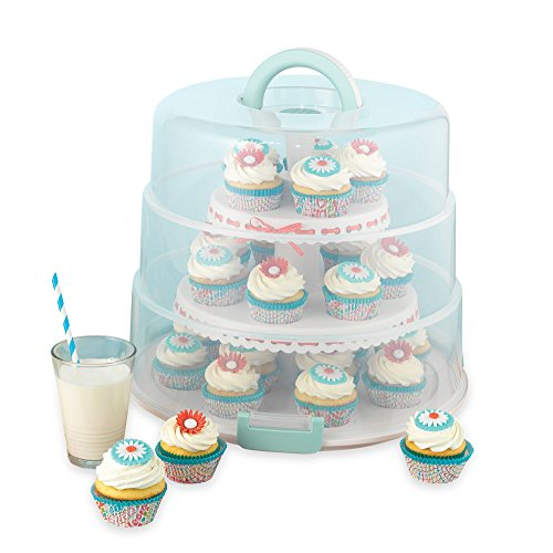 Sweet Creations 3 Tier, Collapsible Cupcake and Cakepop Display Carrier with Handel, White]()