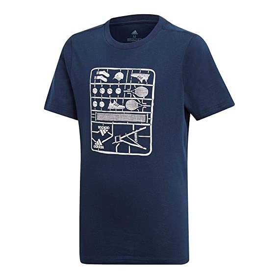 ff7e377ad070e adidas T-Shirt Graphique pour Enfant pour garçon - Bleu Marine - Taille S