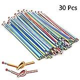 PartyYeah 30 Pcs 18cm Soft Flexible Bendy Pencils with Eraser, Magic Bendable Fun Equipment for School Students Kids Children