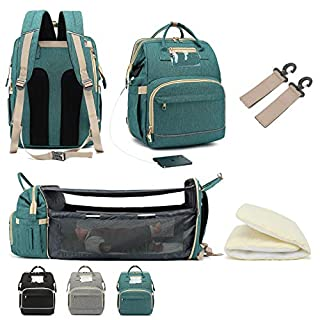 HSJL Diaper Bag Backpack with Foldable Changing Station- Large Capacity- Comfortable for Baby- Easy for Parent- Maternity Baby Sleeping Bags with Removable Curtain- 5 in 1 Premium Nappy Bag (Green)