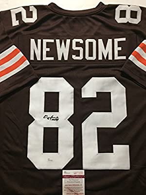 "Autographed/Signed Ozzie Newsome ""HOF 99"" Cleveland Browns Brown Football Jersey JSA COA"