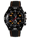 LSVTR GT Racer Sport Watch Military Pilot Aviator Army Style Black Silicone Orange Men's Watches