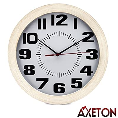 """Axeton Round Wall Clock, Classic & Vintage Style Wood Grain Finish, 10"""" Inches, Large Numbers Display, Plastic Frame"""