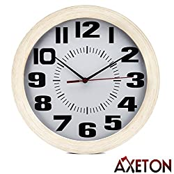 Axeton Round Wall Clock, Classic & Vintage Style Wood Grain Finish, 10 Inches, Large Numbers Display, Plastic Frame