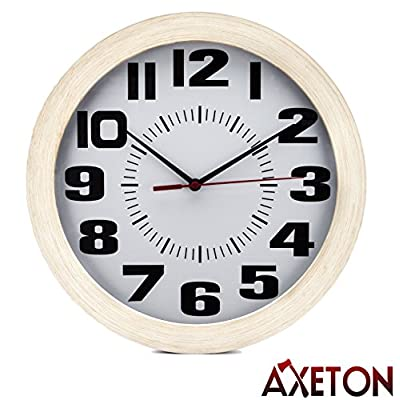 "Axeton Decorative Living Room Round Wall Clock,Vintage Style Wood Grain Finish, Battery Operated,10"" Inches, Large Numbers Display, Plastic Frame - CHARMING DECORATIVE VINTAGE DESIGN: The decorative vintage style wood grain wall clock is a perfect addition to your interior and exterior decoration set. The vintage and classical design gives this clock its unique elegance that travels through time COMPREHENSIVE INDOOR AND OUTDOOR DECORATION: Enchant your room decor with this enticing wall clock With. its wood grain syle, you can liven up your living room, bedroom, office, kid's bedroom, garage, cafe, or even outdoor garden. The possibility is endless and it is yours to choose SIZEABLE TELLER OF TIME: This decorative vintage wood grain style wall clock by Axeton is more than just being a beautiful part of universal decor. It is designed with large numbers and beautiful 10 inches display with wood grain frame to provide easy sighting of time from afar - wall-clocks, living-room-decor, living-room - 515Vu%2BLhdVL. SS400  -"