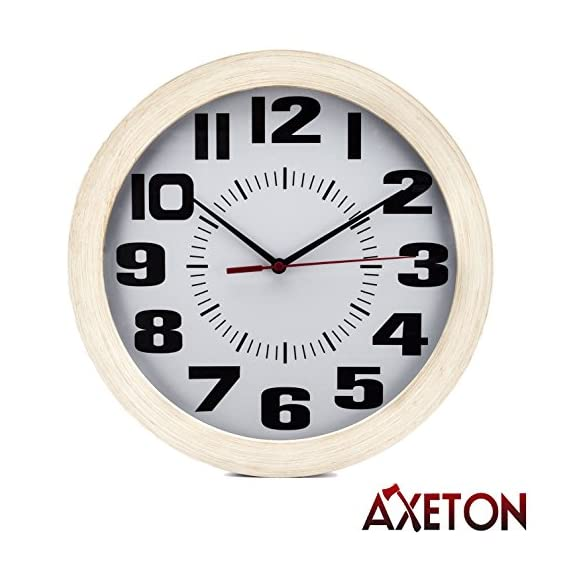 "Axeton Decorative Living Room Round Wall Clock,Vintage Style Wood Grain Finish, Battery Operated,10"" Inches, Large Numbers Display, Plastic Frame - CHARMING DECORATIVE VINTAGE DESIGN: The decorative vintage style wood grain wall clock is a perfect addition to your interior and exterior decoration set. The vintage and classical design gives this clock its unique elegance that travels through time COMPREHENSIVE INDOOR AND OUTDOOR DECORATION: Enchant your room decor with this enticing wall clock With. its wood grain syle, you can liven up your living room, bedroom, office, kid's bedroom, garage, cafe, or even outdoor garden. The possibility is endless and it is yours to choose SIZEABLE TELLER OF TIME: This decorative vintage wood grain style wall clock by Axeton is more than just being a beautiful part of universal decor. It is designed with large numbers and beautiful 10 inches display with wood grain frame to provide easy sighting of time from afar - wall-clocks, living-room-decor, living-room - 515Vu%2BLhdVL. SS570  -"