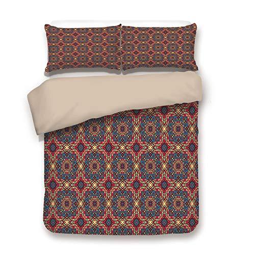 iPrint Duvet Cover Set,Back of Khaki,Vintage,Arabesque Middle East Ottoman Oriental Famous Carpet Patten Like Glass Artwork,Multicolor,Decorative 3 Pcs Bedding Set by 2 Pillow Shams,King -