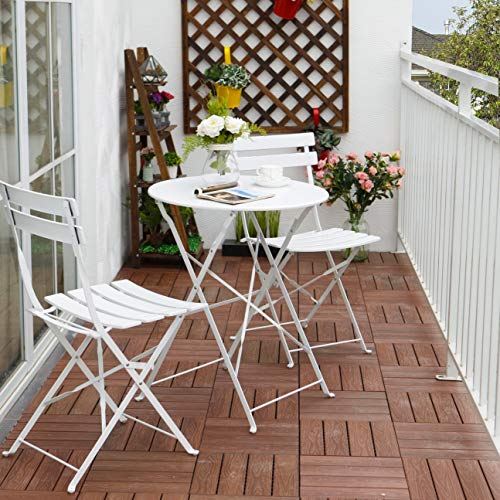 Grand patio Premium Steel Patio Bistro Set, Folding Outdoor Patio Furniture Sets, 3 Piece Patio Set of Foldable Patio Table and Chairs, White (Patio White Bistro Set)