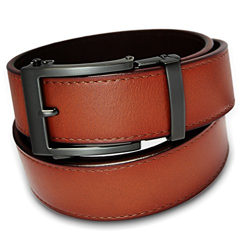 Buckle Custom Belt Name - Classic Men's Leather Ratchet Click Belt - Gun Metal Buckle with Sienna Tan Leather Belt (Trim to Fit: Up to 35'' Waist)