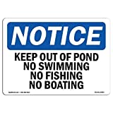 Everett Goodman Home Decor - Safety Sign Notice Keep Out of Pond No Swimming No Fishing No Boating.8x12 Inch Metal Tin Sign