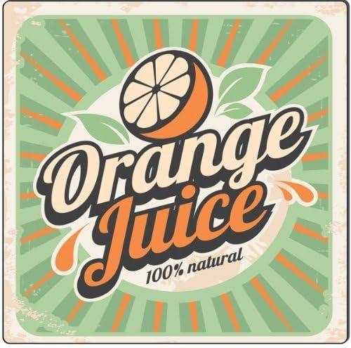 DOGT Metal Tin Sign 8x12 Inches 100% Natural Orange Juice Vintage ...