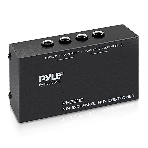 Compact Mini Hum Eliminator Box - 2 Channel Passive Ground Loop Isolator, Noise Filter, AC Buzz Destroyer, Hum Killer w/ 2 1/4-Inch TRS Input and Output for 2 Mono / 1 Stereo Signal - Pyle PHE300