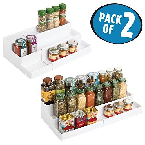 mDesign Adjustable, Expandable Kitchen Cabinet, Pantry, Shelf Organizer/Spice Rack - 3 Level Storage: Food Safe, BPA Free - Up to 20