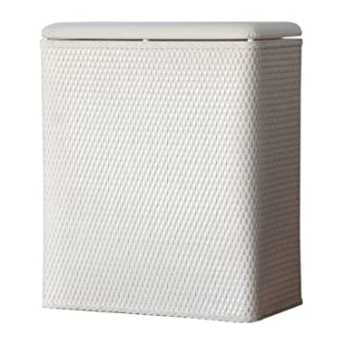 Lamont Home Carter Upright Wicker Laundry Hamper with Coordinating Padded Vinyl Lid, White