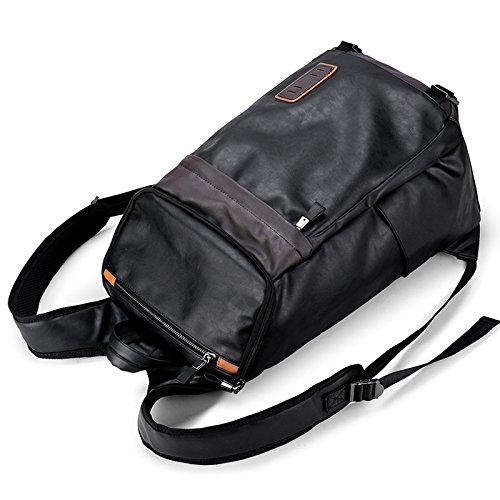 Meoaeo Computer Schwarz Schultertasche Männliche Tasche Pu Leder Mode Reisetasche Große Kapazität