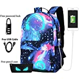 Anime Luminous Backpack Noctilucent School Bags Daypack USB chargeing port Laptop Bag Handbag For Boys Girls Men Women (Music boy 3)