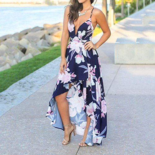 Dress Dress Party Sexy Dress Split Navy Aimik Beach Neck Backless Women's Floral Sleeveless Deep Maxi V Print Summer qaW4Az