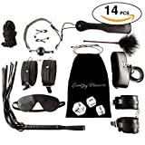 14 pcs BDSM Love HIGH QUALITY Bed Bondage Set Kit Restraints Straps Soft Wrist And Ankle Cuffs Fetish Sex Toys For Couples Men With BONUS Sex Dice Game By Shanhai