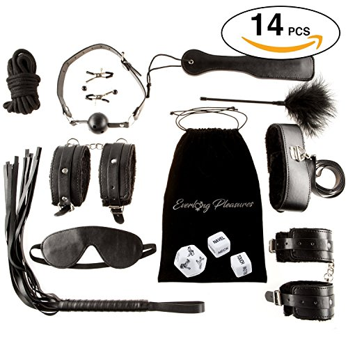 14 pcs BDSM Love HIGH QUALITY Bed Bondage Set Kit Restraints Straps Soft Wrist And Ankle Cuffs Fetish Sex Toys For Couples Men With BONUS Sex Dice Game By Shanhai by BFY