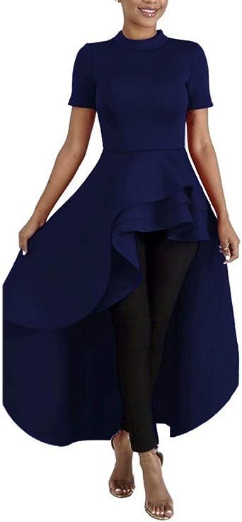 Memorose Womens Ruffle High Low Asymmetrical Short Sleeve Bodycon Tops Blouse