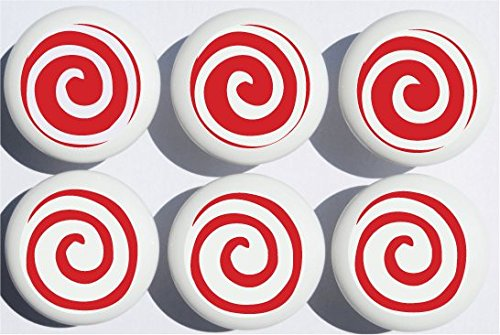Red Swirly Spiral Polka Dot Drawer Knobs/Whimsical Swirls Ceramic Cabinet Pulls for Nursery or Children