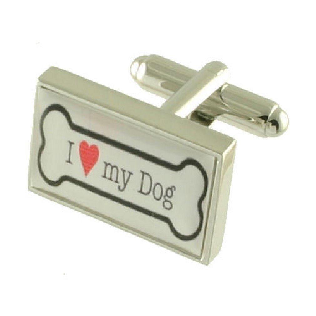 Pet Dog Bone Cufflinks - I Love My Dog Sterling Silver 925 + Message Box