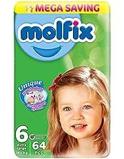 حفاضات اطفال بتقنية ثلاثية الابعاد اكسترا لارج للاطفال من مولفيكس، 64 قطعة - مقاس 6