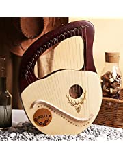 21 String Lyre Harp Lye Harp Solidwood Mahogany with Carry Bag, Chinese Harp Heptachord for Beginner Music Lovers Kids Adult Musical Instrument