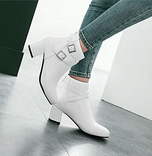 Martin White Short Casual Boots Heel Ladies Boots Fashion Chelsea Boots Leather Low Zip Women Ankle Block Wealsex q4vwCpa4