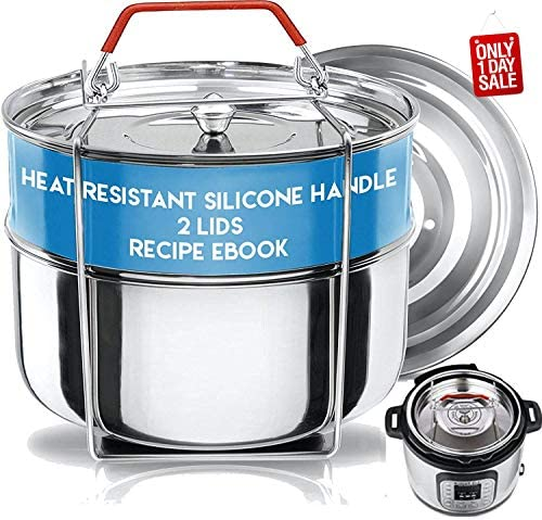 515Vwbcgh%2BL. AC Silva Stackable Pressure Cooker Accessories Compatible with Instant pot 6 qt + 2 Lids + Safety Handle+ Recipe E-Book - Pot in Pot Food Steamer Inserts Pans    Product Description