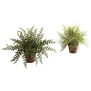Nearly Natural Fern Silk Plant with Decorative Planter - Set of 2 91