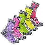 YUEDGE 5Pack Women's Antiskid Wicking Multi Performance Cushion Crew Socks Year Round(Assortment 5Pack Pink/Red/Green/Yellow/Purple)