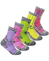 Women's 5 Pairs Wicking Cushiou Crew Socks Multi Performance Hiking Athletic Socks