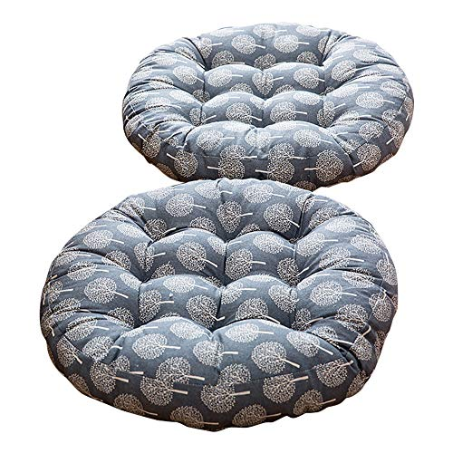 TMJJ Cotton & Linen Round Floor Pillow Cushion Japanese Style Futon Seat Cushion Thicken Chair Wave Window Pad 21'' x 21'',Set of 2 (Dark Happy Tree) by TMJJ Home (Image #9)
