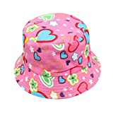 Lanhui Summer Toddler Kids Boy Girl Floral Pattern Bucket Sun Hats Helmet Cap (Hot Pink, Hat Circumference:About 54cm)