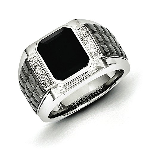 Square Onyx Ring - 925 Sterling Silver Rhodium-plated Diamond & Onyx Square Black Ring Size 10