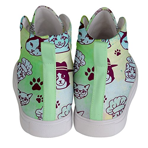 CowCow Womens Whisker Kitty Cat Comfy Hi-Top Skate Sneaker, US5 - US10.5 Colourful