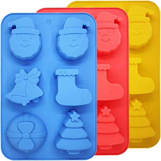 with Shape of Snowman Reindeer Sleigh 6 Cavities SENHAI 3 Pack Christmas Silicone Molds Soap Chocolate Trays Cake Baking Pans Blue Green Purple