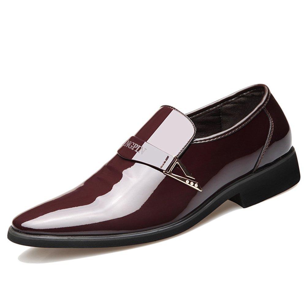 Chaussure en Cuir Verni Habillée d'affaire pour Homme Été Mocassin Chaussure Pointu au Loisir sans Lacet Résistant à l'usure