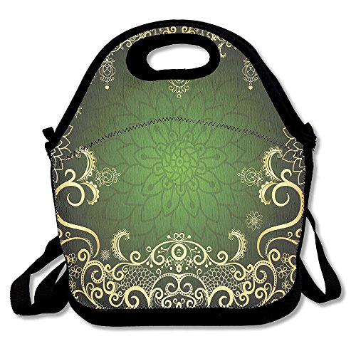 Mkajkkok Arabesque Frame With Lotus Shade Floral Swirls Little Hearts And Dots Decorative Lunch Tote Lunch Bags With Neoprene