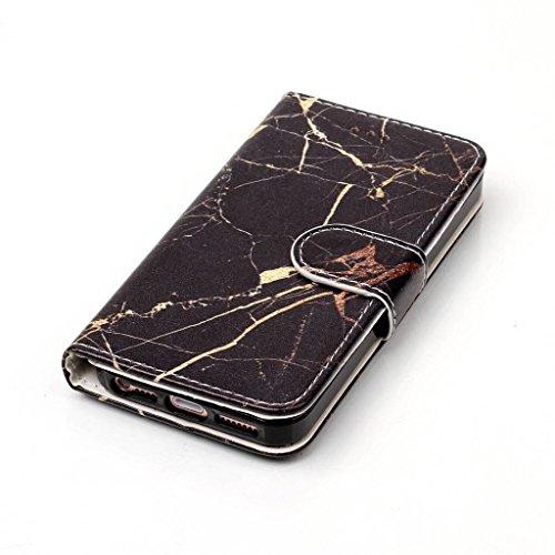 Crisant Case Cover For Apple iPhone 5 5S / SE,Marbre noir conception portefeuille magnétique supporter PU cuir de flip protection housse coque étui pour Apple iPhone 5 5S / SE