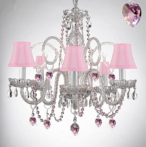 Empress Crystal Tm Chandelier Chandeliers Lighting with Pink Color Crystal Hearts and Pink Shades Perfect for Kid s and Girls Bedroom