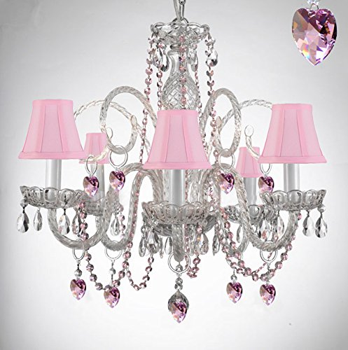 Empress Crystal (Tm) Chandelier Chandeliers Lighting with Pink Color Crystal Hearts and Pink Shades! PERFECT FOR KID