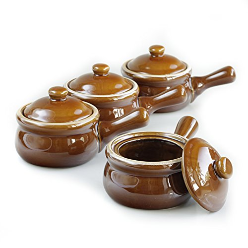 HIC Individual French Onion Soup Crock Chili Bowls with Handles and Lids, Ceramic Stoneware, Brown, 14-Ounce Capacity, Set of 4 (Stoneware Soup Pot compare prices)