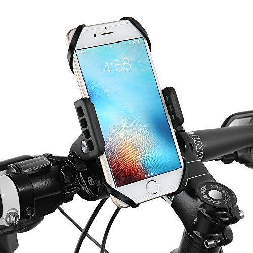Bike Phone Mount, Siroflo Bicycle Holder for any Smart Phone: iPhone 7 /7+, 6 /6+, 5s, 5, Samsung Galaxy S7 /S7 Edge, S6, S5, S4, Nexus, Nokia, LG Motorcycle, Bike Mount, Bike Accessories Adjustable