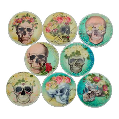 (Set of 8 Skull and Roses Wood Cabinet Knobs)