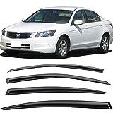 Window Visors Fits 2008-2012 Honda Accord | Full Set Mugen Style Smoked JDM Stick On by IKON MOTORSPORTS | 2009 2010 2011