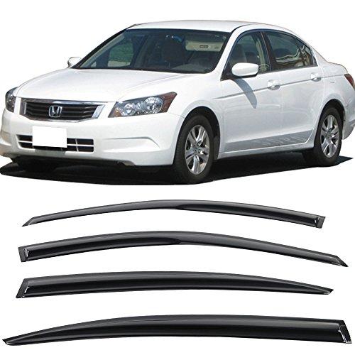 Window Visors Fits 2008-2012 Honda Accord 8Th Gen | Full Set Smoked JDM Stick On by IKON MOTORSPORTS | 2009 2010 2011