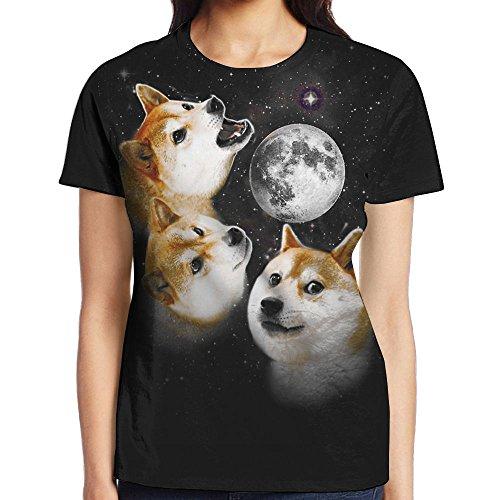 Three Shiba Moon Full Print Women Lovely T Shirts Short Sleeve Sports Undershirt Jersey Shirt Small from SHZFS Luc